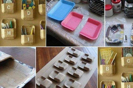 Organizador de material hecho con bandejas de foam