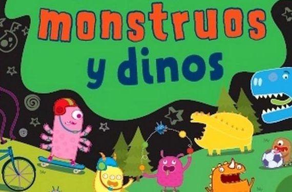 Detalle cubierta libro monstruos y dinos