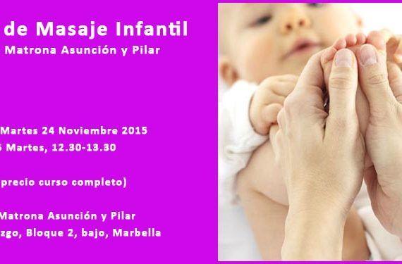 taller Centro Mi Matrona Asunción y Pilar masaje infantil bebé madres padres curso cabecera