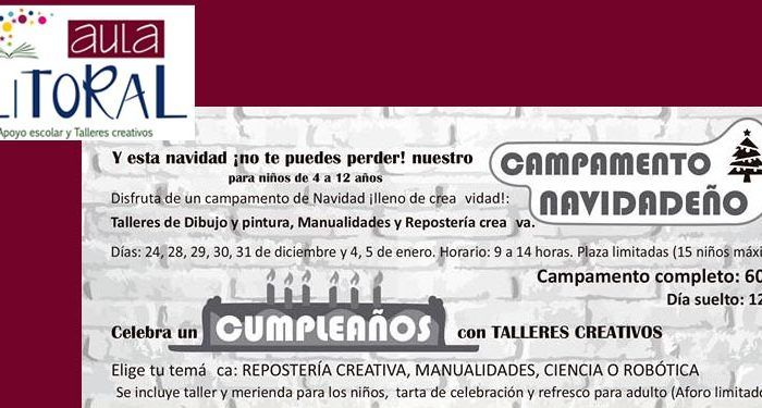 campamento navidad aula litoral málaga talleres repostería manualidades dibujo cabecera