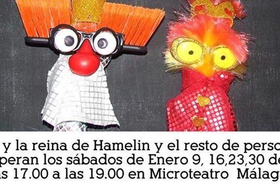 espectáculo flautista hamelin compañía mandrágora teatro microteatro muñecos rey reina pizarra cabecera