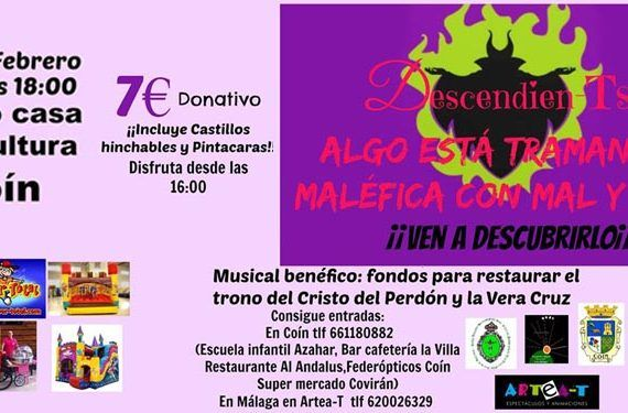 , Monsther High, Ariel, Spiderman, los Descendien-Ts, n el Espectáculo musical en Coín