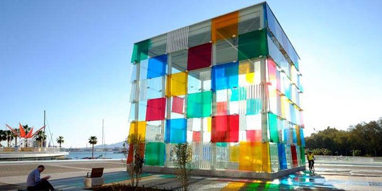 fachada cubo colores centre pompidou malaga febrero kahlo cabecera