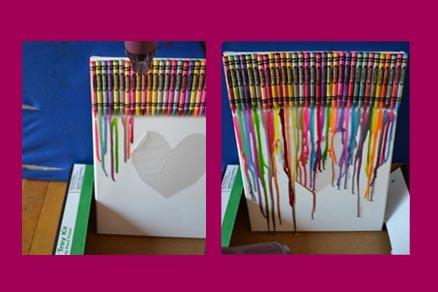 Cuadro de ceras derretidas, un invento original para hacer con niños Saturna.Manualidades 05