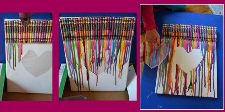 Cuadro de ceras derretidas, un invento original para hacer con niños Saturna.Manualidades 00