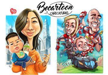 Regala caricaturas personalizadas para toda la familia con BeCartoon