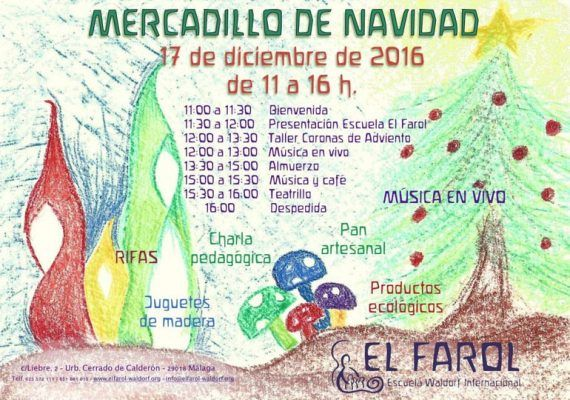 Mercadillo navideño de la escuela waldorf El Farol de Málaga el 17 de diciembre