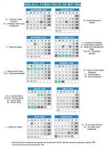 calendario escolar Málaga 2017/2018