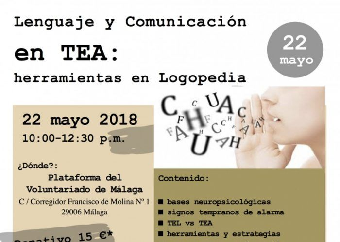 Cartel Taller logopedia y autismo Málaga