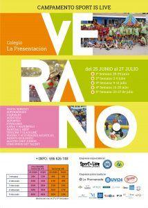 Cartel campamento de verano de SportisLive en colegio La Presentación