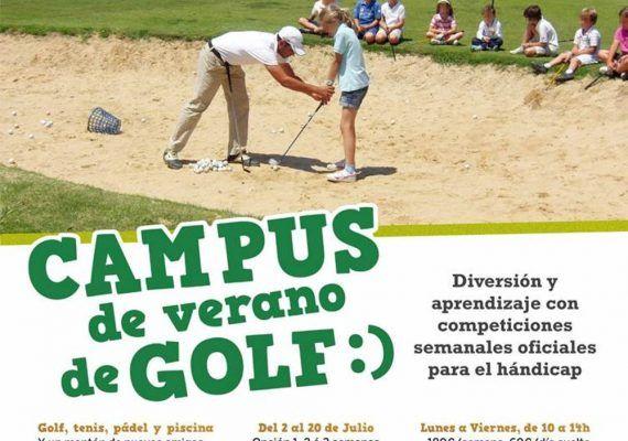 Cartel campamento de verano para niños en el Parador de Golf de Málaga