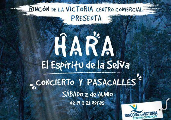 Cartel del pasacalles del musical Hara en el Centro Comercial Rincón de la Victoria