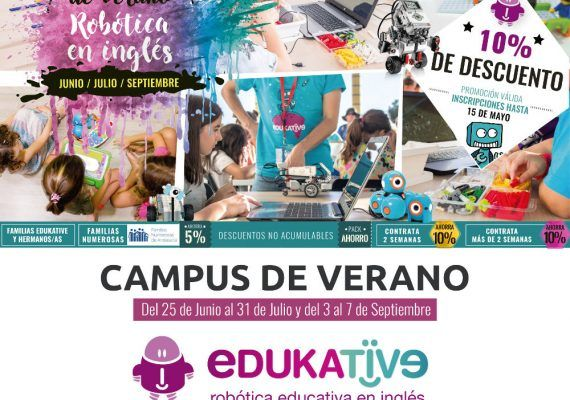 Cartel Robotic Summer Camp Edukative Málaga