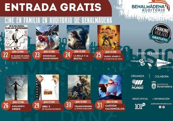 Cine gratis para toda la familia en el auditorio de Benalmádena en julio