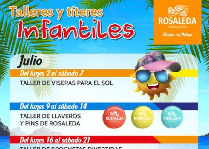 Talleres y títeres gratis para niños en el CC Rosaleda de Málaga en julio