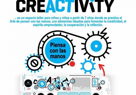 Espacio taller de la Caixa para niños sobre creatividad en Torre del Mar