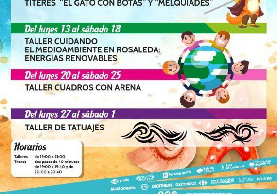 Talleres gratis para niños en el CC Rosaleda de Málaga en agosto