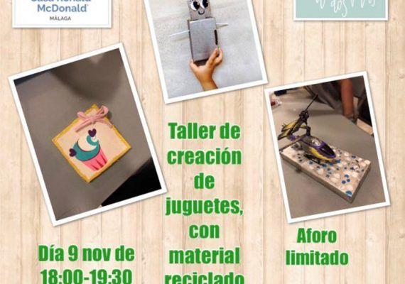 Taller infantil de juguetes reciclados a beneficio de la Casa Ronald McDonald Málaga