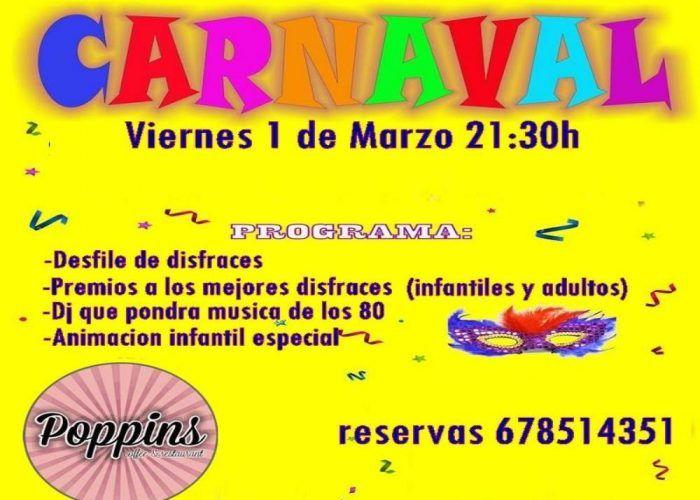 Fiesta de Carnaval para toda la familia en Poppins de Alhaurín de laTorre