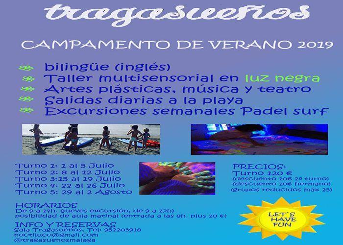 Campamento de verano infantil organizado por la Sala Tragasueños en Málaga