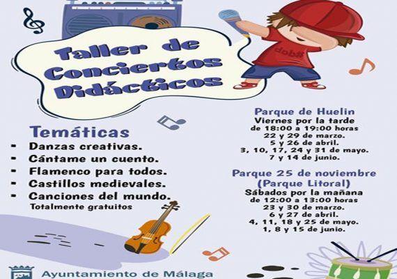 Taller de conciertos didácticos gratis para niños en Málaga