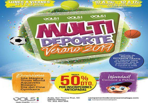 Campamento de verano deportivo para niños y jóvenes en Vals Sport Ave María (Málaga)