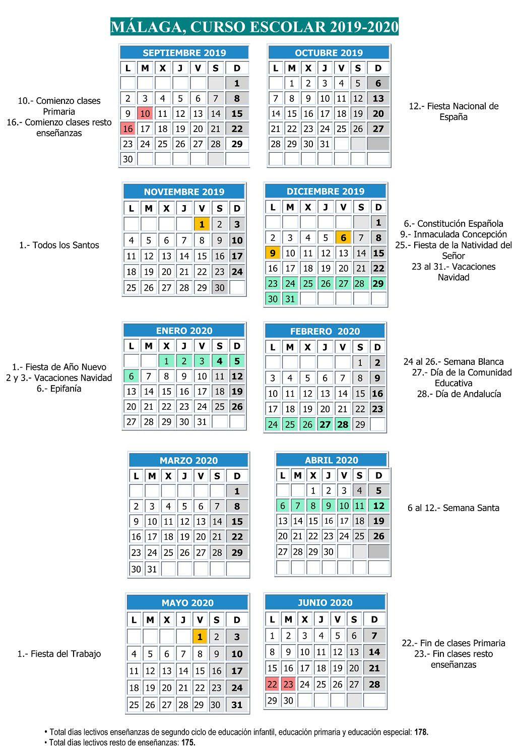 Calendario Verano 2020.Calendario Escolar Malaga 2019 2020 La Diversiva La Guia De Ocio