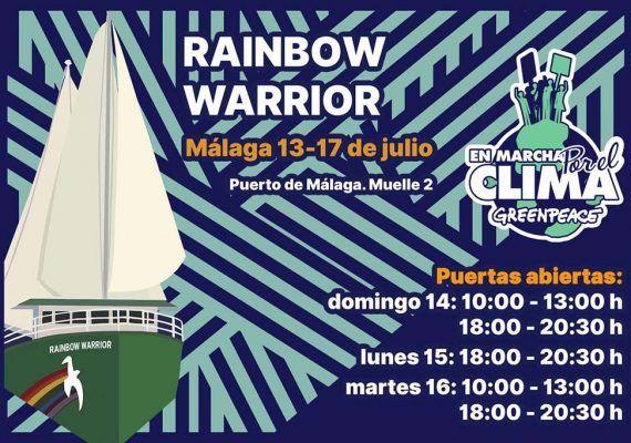 Visita en familia en el Puerto de Málaga el Rainbow Warrior, buque insignia de Greenpeace