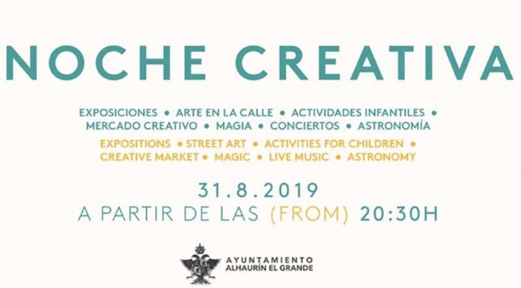 Noche Creativa en Alhaurín el Grande, la tarde noche del sábado 31 de agosto