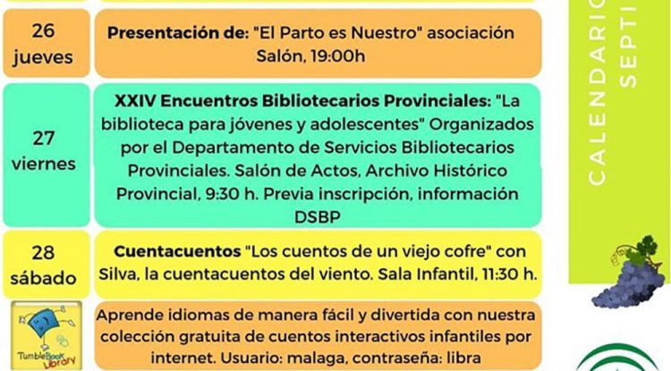 Actividades infantiles gratis en septiembre en la Biblioteca Provincial de Málaga