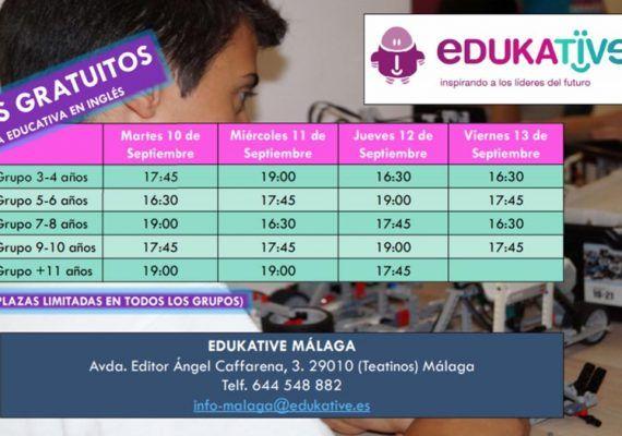 Talleres gratis de robótica educativa en inglés para niños en Edukative Málaga