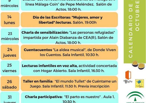 Actividades gratis para toda la familia en octubre en la Biblioteca Provincial de Málaga
