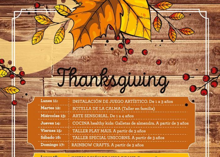 Talleres y otras actividades para niños en Mandarina Garden Málaga en noviembre