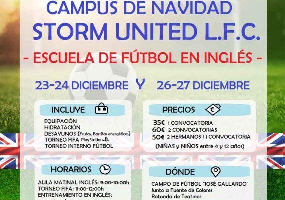 Campamento de Navidad: fútbol en inglés con Storm United en Málaga