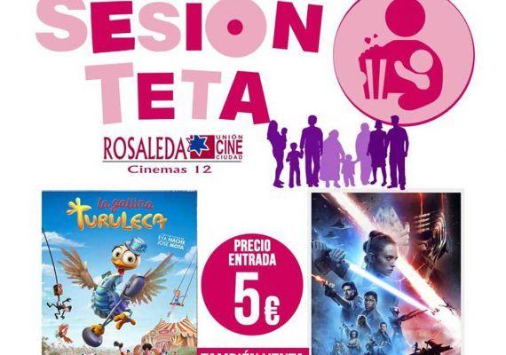 El próximo domingo 19 de enero, 'Sesión Teta' llega al cine del Centro Comercial Rosaleda para que toda la familia pueda disfrutar de las películas 'La gallina turuleca' y 'Star Wars: el ascenso de Skywalker'. Las películas comenzarán entre las 12 y las 12:30 horas.