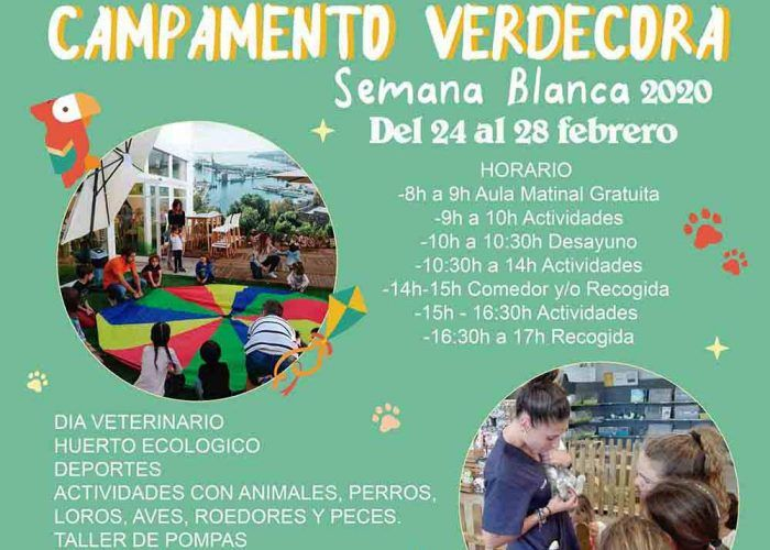 Campamento de Semana Blanca para niños entre animales en Verdecora Málaga