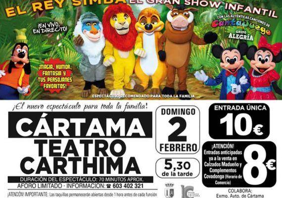 El espectáculo para niños 'El Rey Simba' llega este domingo a Cártama