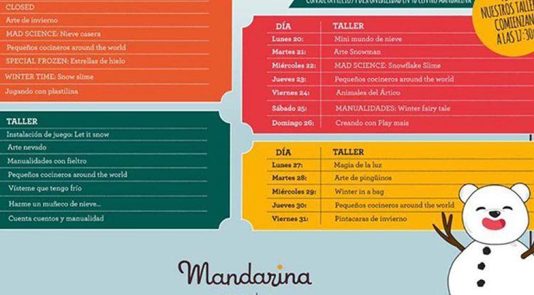 Talleres y juegos para niños en Mandarina Garden Málaga en enero