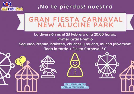 Fiesta de Carnaval para niños en el parque infantil New Alucine Park Málaga