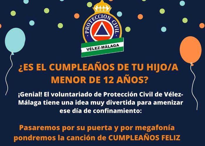 Protección Civil de Vélez-Málaga felicita el cumpleaños a los niños durante la cuarentena