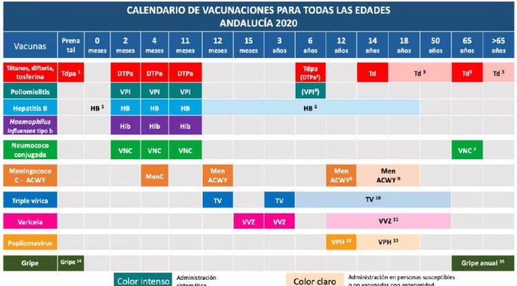 Calendario de vacunación infantil de Andalucía 2020