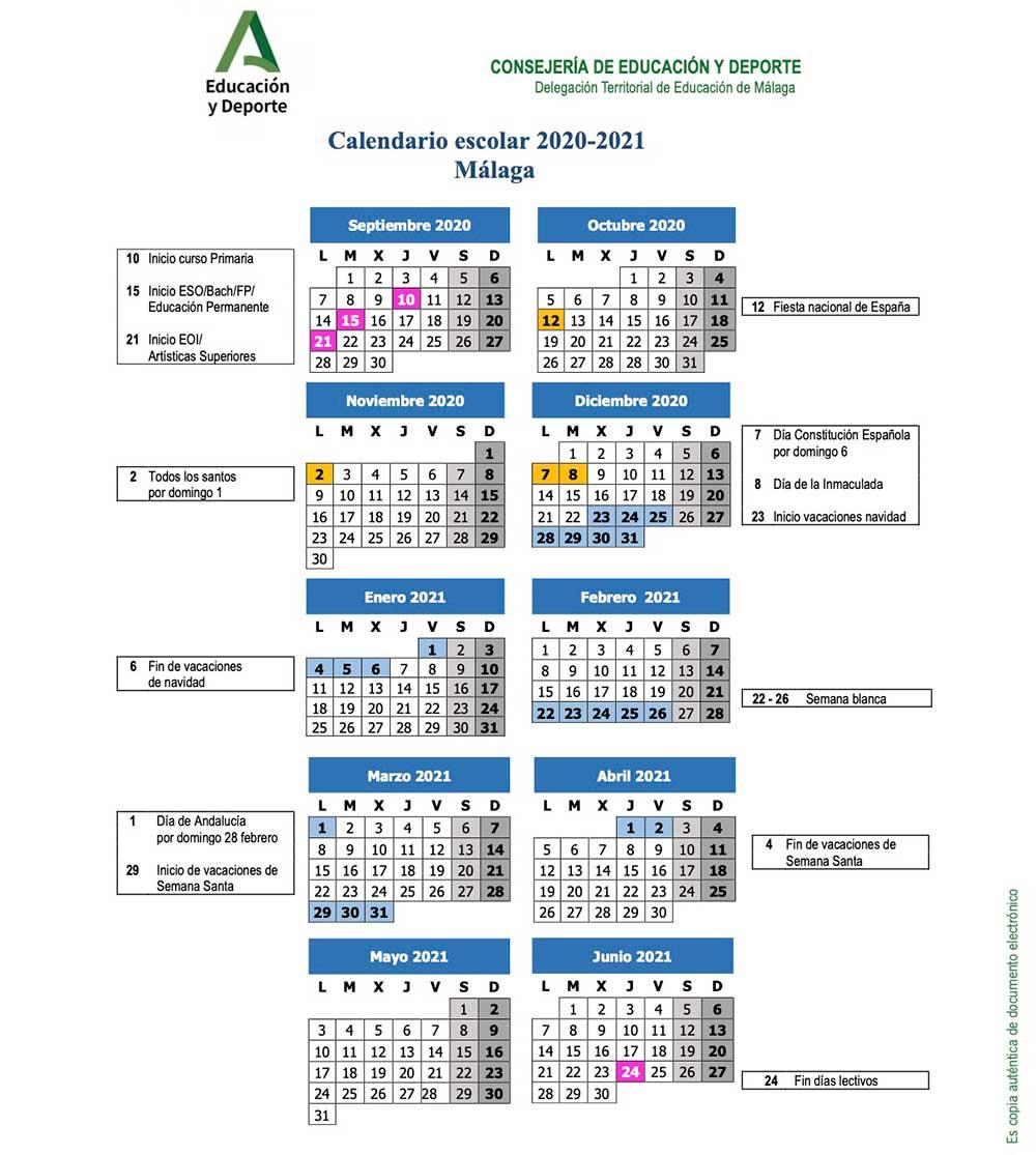 ⇨ Calendario escolar de Málaga para el curso 2020-2021 | La Diversiva