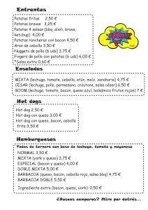 Carta menú de Boom! by Poppins en Alhaurín de la Torre 1