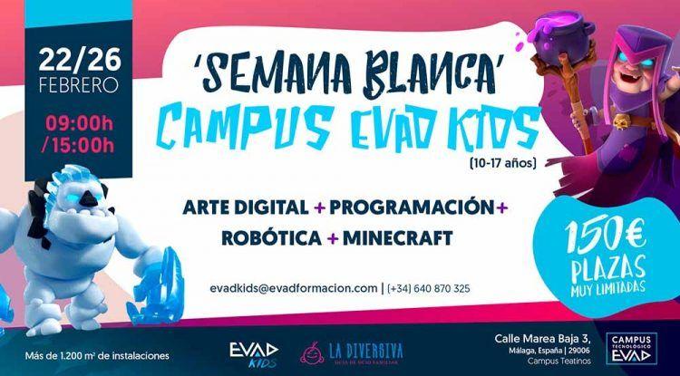 Campamento de Semana Blanca para niños sobre videojuegos, robótica y Minecraft en Evad Kids