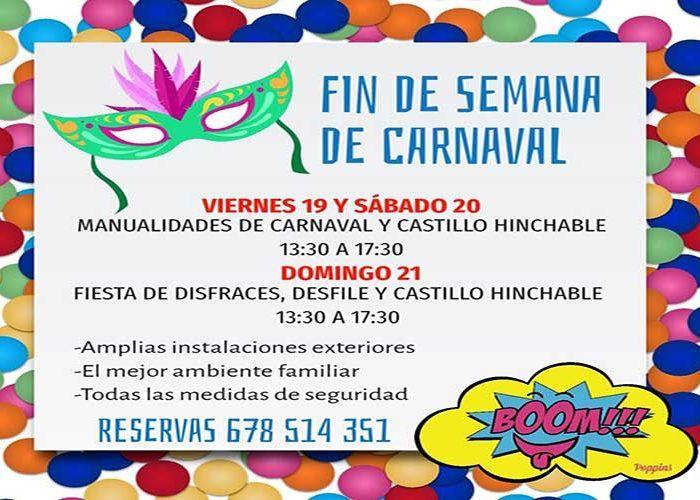 Fiesta familiar de Carnaval el fin de semana en Boom by Poppins de Alhaurín de la Torre