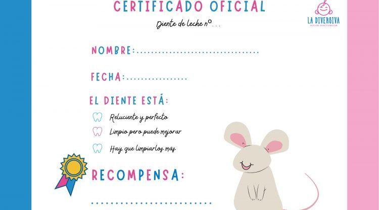 Diploma del Ratoncito Pérez para los niños y niñas