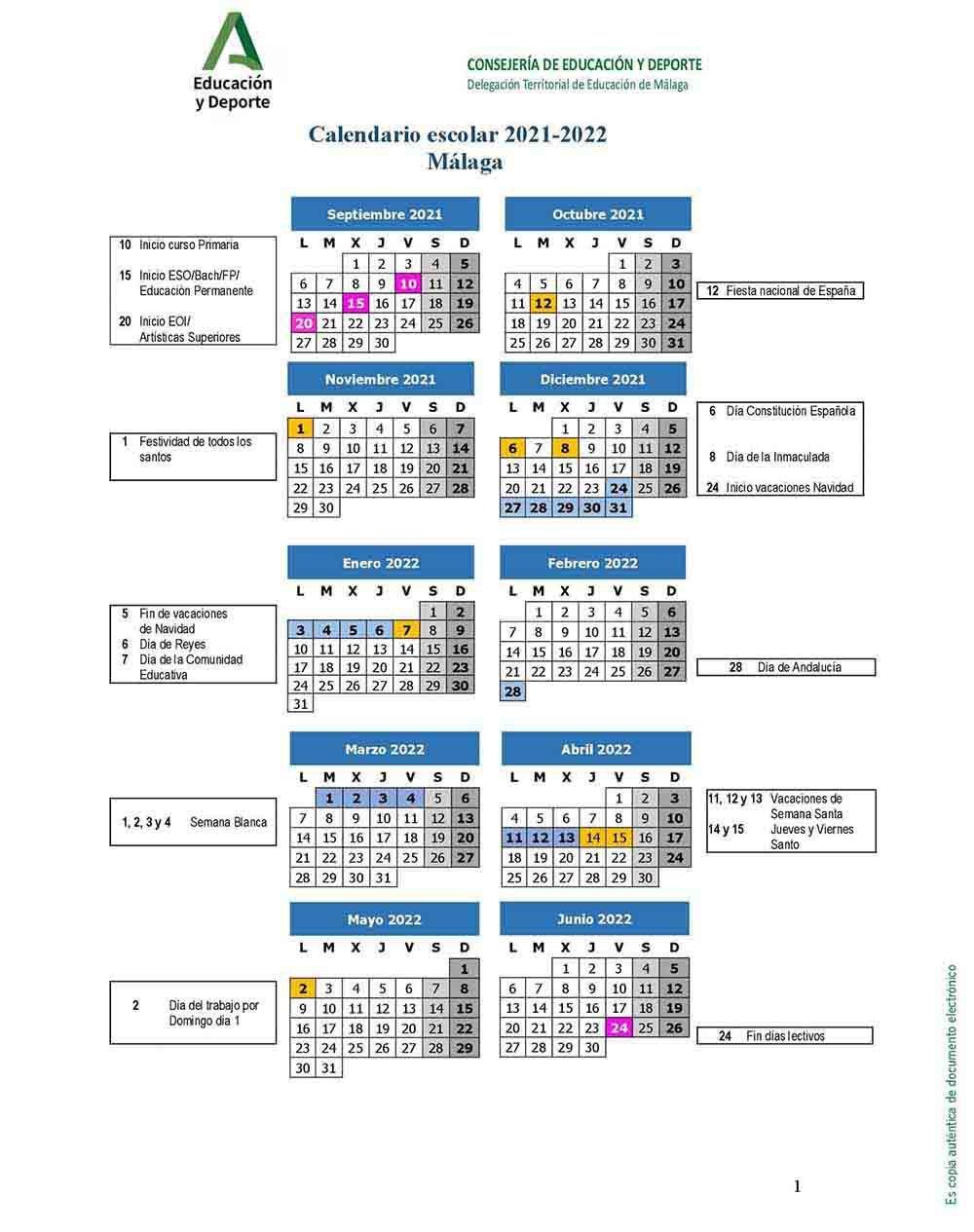 Calendario Escolar De Málaga Para El Curso 2021 2022 La Diversiva