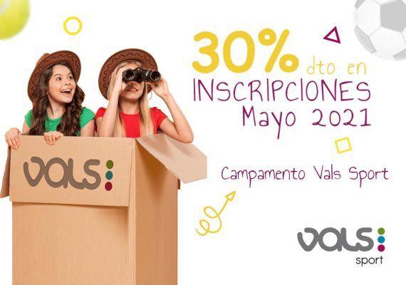 Descuento del 30% al contratar en mayo el campamento de verano de Vals Sport