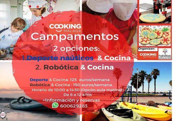 Campamento de verano de Cooking Málaga: clases de cocina junto a deportes náuticos o robótica