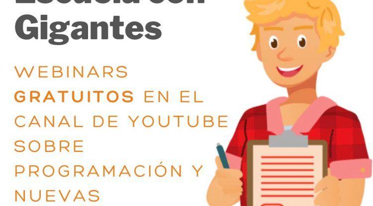 Webinars gratis para niños y jóvenes de programación y nuevas tecnologías con Escuela con Gigantes
